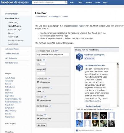 Like Box Programiści Facebooka Mozilla Firefox 2013 02 13 130412 400x430 Jak założyć własnego bloga   cz.2   Gadżety