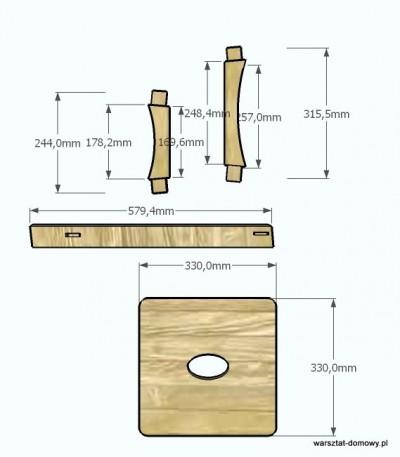 stolek warsztatowy 2014 01 12 wymiary 400x457 Ogólnoświatowa akcja budowy stołków warsztatowych   mój projekt (Shop Stool Build Off)